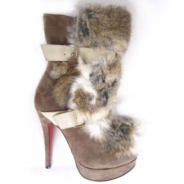 Louboutin Women's Toundra Fur 120mm Ankle Boots Brown