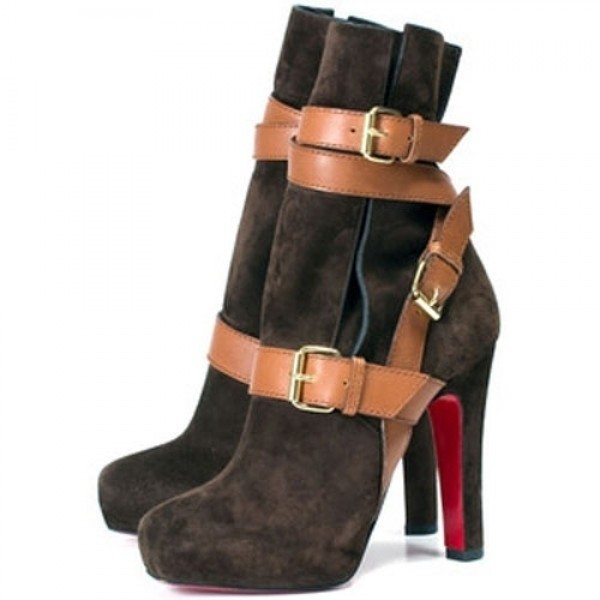 Louboutin Women's Guerriere 120mm Ankle Boots Chocolate