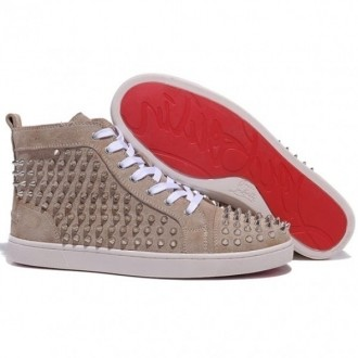 Louboutin Men's Louis Spikes Sneakers Taupe