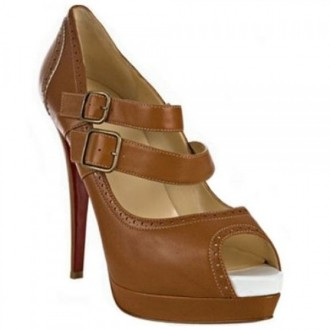 Louboutin Women's Luly 140mm Mary Jane Pumps Brown