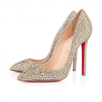 Louboutin Women's Pigalle Strass 120mm Special Occasion Gold