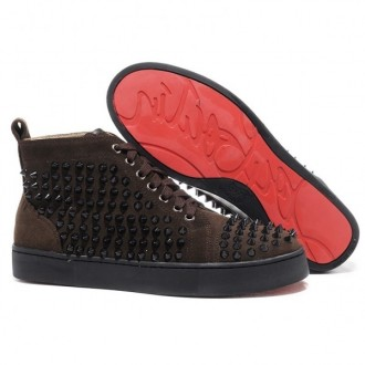 Louboutin Spikes Sneakers Chocolate
