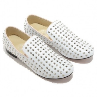 Louboutin Women's Rolling Spikes Loafers White