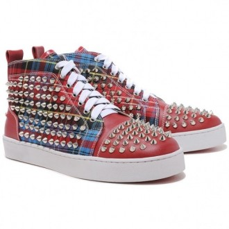 Louboutin Women's Louis Spikes Sneakers Red