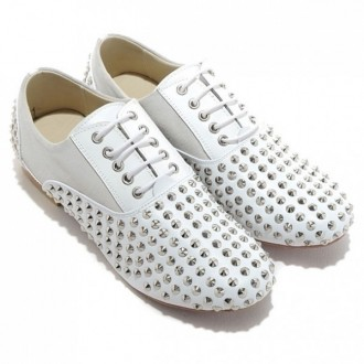 Louboutin Men's Fred Spikes Loafers White