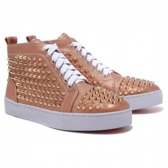 Louboutin Men's Louis Gold Spikes Sneakers Taupe
