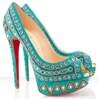 Louboutin Women's Bollywoody 140mm Peep Toe Pumps Turquoise