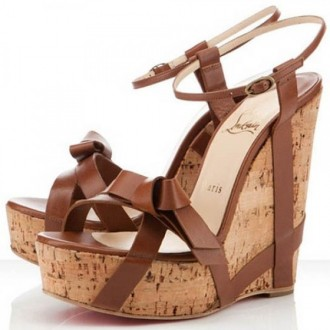 Louboutin Women's Miss Cristo 140mm Wedges Brown