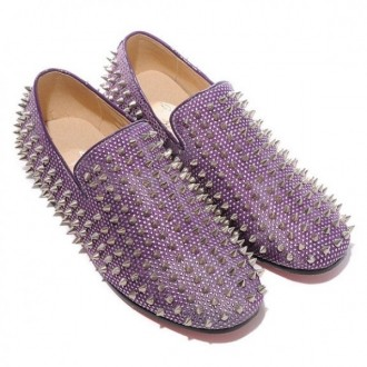 Louboutin Women's Rolling Spikes Loafers Parme