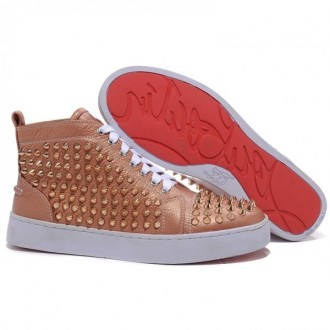 Louboutin Women's Louis Gold Spikes Sneakers Taupe