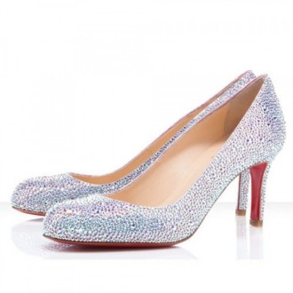 Louboutin Women's Fifi Strass 100mm Special Occasion Silver