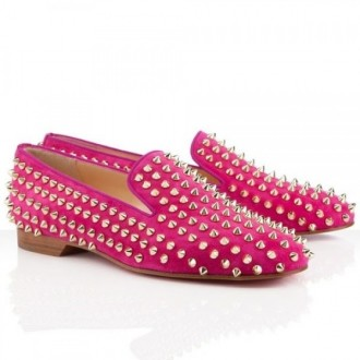 Louboutin Rolling Spikes Loafers Rose Matador