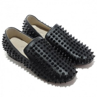 Louboutin Men's Rollerboy Spikes Loafers Black Sale