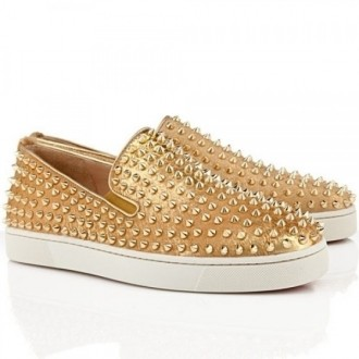 Louboutin Men's Roller Boat Loafers Gold
